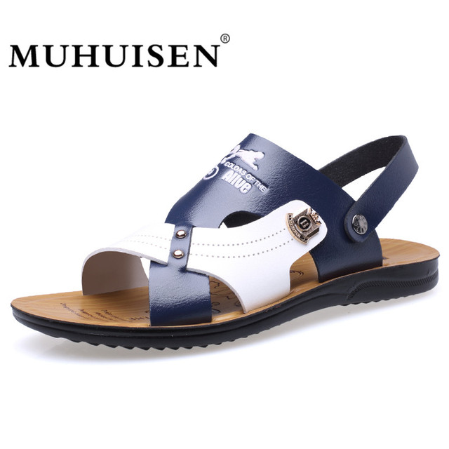 fb33ddb648013 MUHUISEN Summer Fashion Men Sandals Beach Slippers Breathable Leather Soft Casual  Shoes Male Outdoor