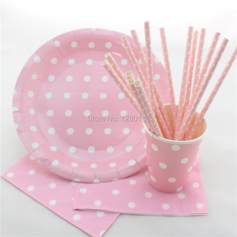 More Colors Disposable Tableware Polka Dot Design Party Paper Plates Coffee Cups Baby Shower Favor Paper Napkins Drinking Straws