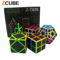 Zcube Set 5pcs Box Carbon Fiber Magic Cube Pyraminx Dodecahedron Axis Cube 2x2 Cube 3x3 Cube