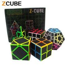 Zcube Ensemble 5 pcs/boîte En Fiber De Carbone Magique Cube Pyraminx & Dodécaèdre et axe Cube & 2×2 Cube & 3×3 Cube Vitesse Puzzle Jouet Cadeau-48