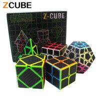 Zcube Set 5pcs Box Carbon Fiber Magic Cube Pyraminx Dodecahedron Axis Cube 2x2 Cube 3x3 Cube