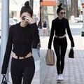2017 de Manga Larga Atractiva Delgada Mujeres Camiseta Encapuchada Ocasional Blusa Entallada Poleron Mujer Jerséis con capucha Sudadera Mujeres Corto Tire Femme