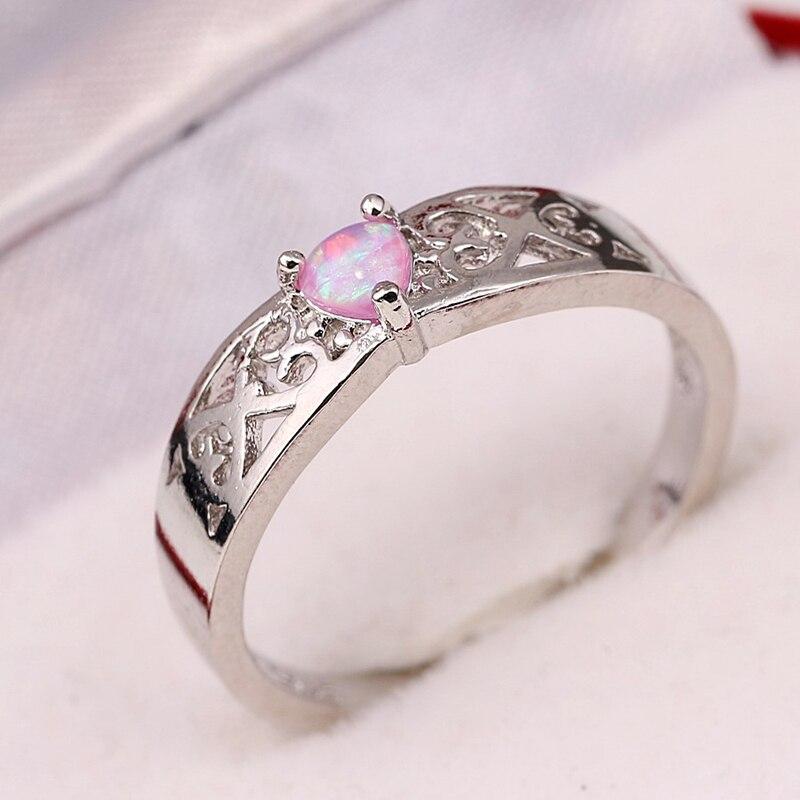 New Trendy Big Oval Heart Shape Gun Black Plated Blue Opal Rings For Wedding Party Finger Rings Gift For Women SIZE 6 7 8 9 10