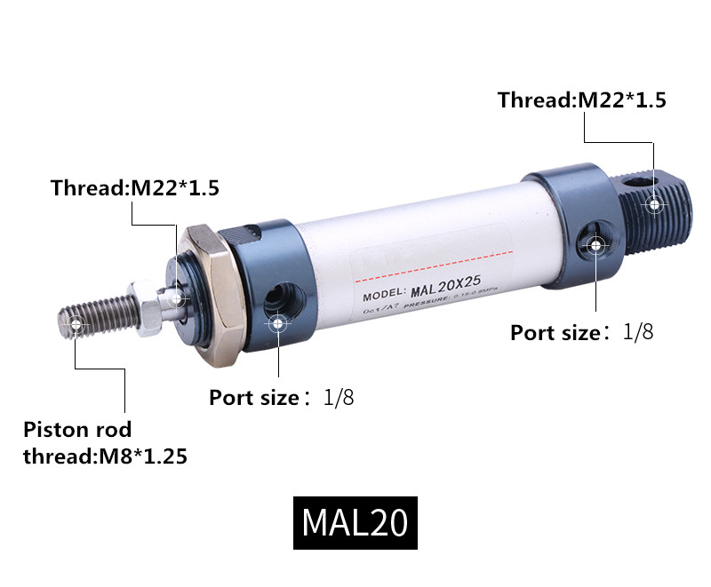 AirTAC type Aluminum alloy Pneumatic cylinder MAL 20mm bore 25mm-500mm stroke Single Rod Air su63 100 s airtac air cylinder pneumatic component air tools su series