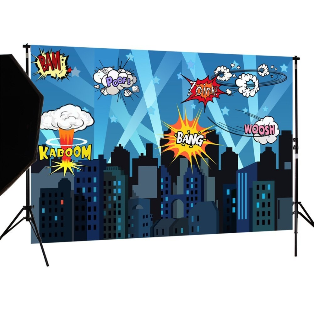 Capisco Seamless vinyl photography backdrop Super hero City Night Children Party Background decoration photocall for photography 600cm 300cm background large courtyard in front of people photography backdropsvinyl photography backdrop 3383 lk