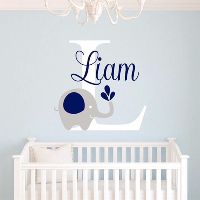 2017 New Custome Baby Name Decal Elephant Wall Sticker Room Art Decor