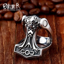 Beier 316L Stainless Steel Norse Viking Nordic Myth Thor man`s Jewelry High Quality fashion wholesale ring jewelry LR441(China)