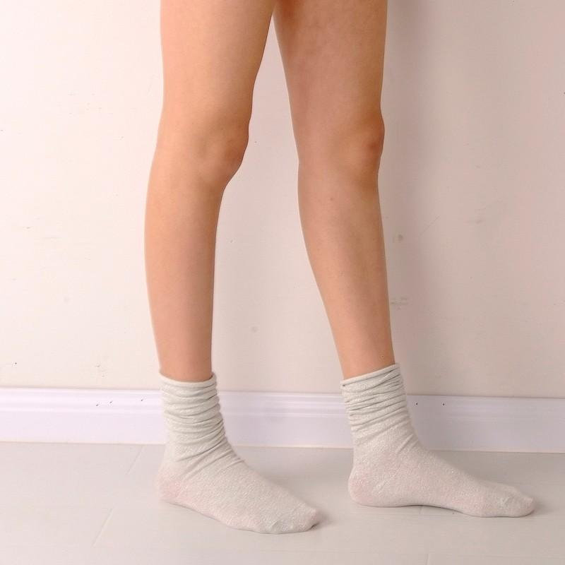 Fashion Long Socks Women Winter Cotton Happy Socks Funny Shiny Loose Glitter Socks Thick Warm Edge Curl Elegant Christmas Socks 10