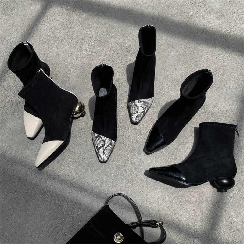 Slim Fit Elastik yarım çizmeler Yılan Desen Deri Patchwork Çorap Çizmeler Sivri Burun Yuvarlak Topuk Kış Ayakkabı Kadın Kısa Bootas
