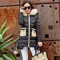 Knit Stitching Solid Color Padded Winter Jacket Women New Jacket Fashion Wild Long Section Warm Hooded Female Cotton Coat MC673