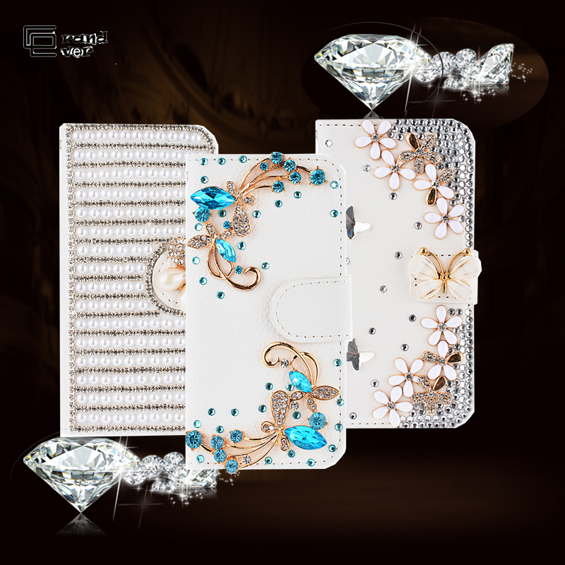 3D bling Diamond Crystal Luxury Luxip Flip PU կաշվե դրամապանակի պատյան Samsung Galaxy S8 S9 plus note8 S7 Edge Capa Samsung A5 J5- ի համար