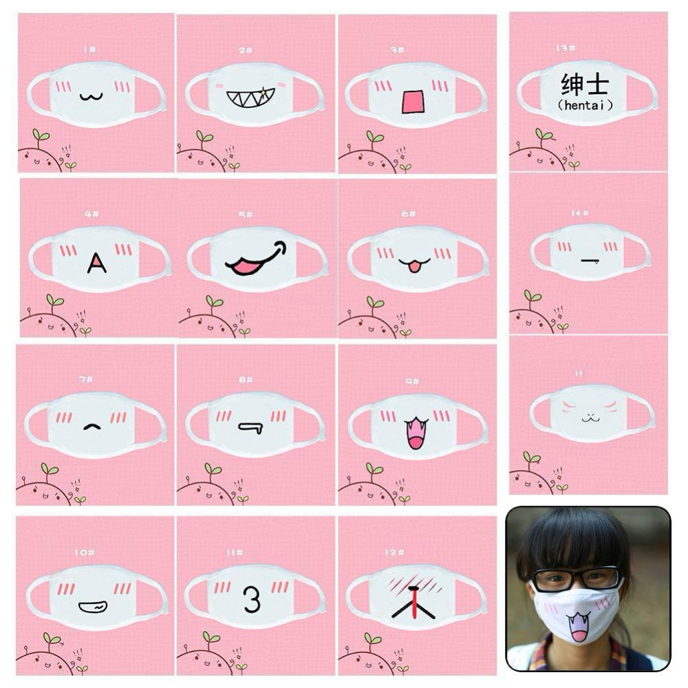 Hearty Anime Mask Durable Mouth Cover Anti Dust Cute Mask Cotton Mouth Facial Masks Outdoor Anime Cartoon Style Cycling Wearing Mask Apparel Accessories