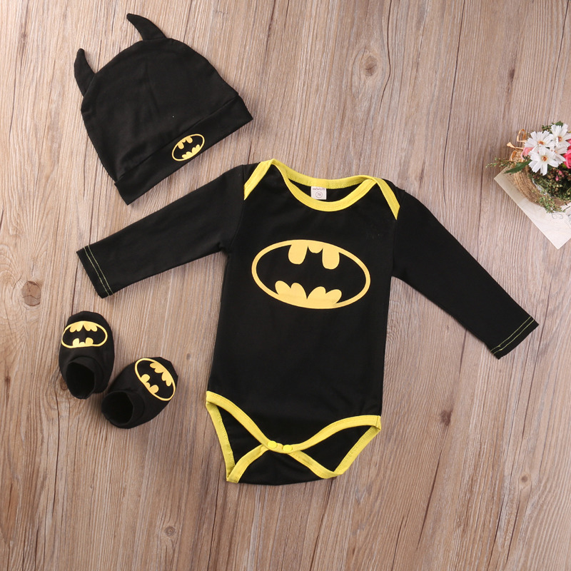 Summer Autumn Cute Batman Cotton Boys Rompers Printed Batman Baby Boys Clothes Rompers with Shoes Hat Black 0-24 Months 1