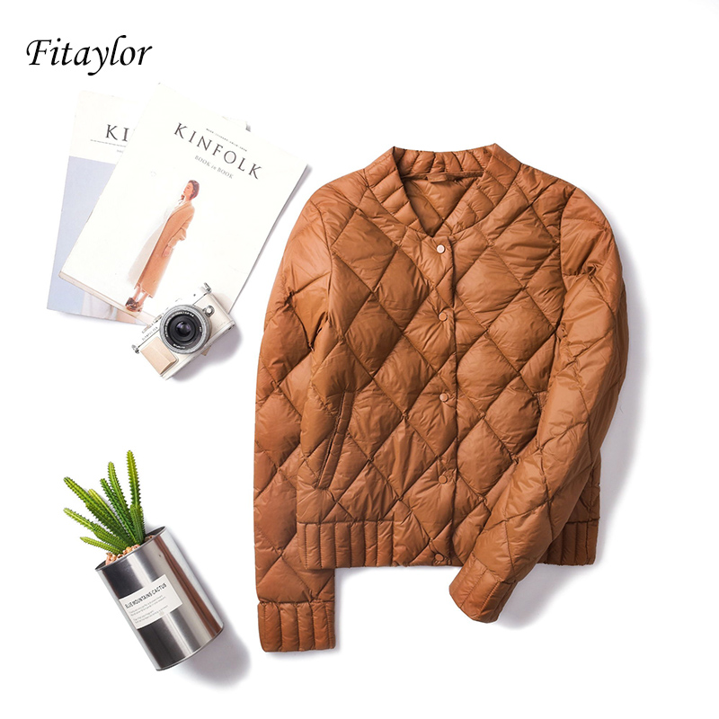 Fitaylor 2019 New Women Ultra Light White Duck   Down   Jackets Autumn Winter Plus Size 3XL O Neck   Coat   Slim Short Warm   Down     Coats