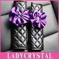 Ladycrystal 1 Par de Cristal Cubierta Púrpura de La Flor Del Coche Auto Del Cinturón de seguridad Del Cinturón de seguridad Hombrera Car Styling Juego Para Todos coche