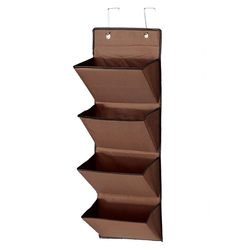 3 Colors 4 Tier Wall Door Hanging Organiser Storage Rack Bag Cloth Wardobe Shoe Pocket