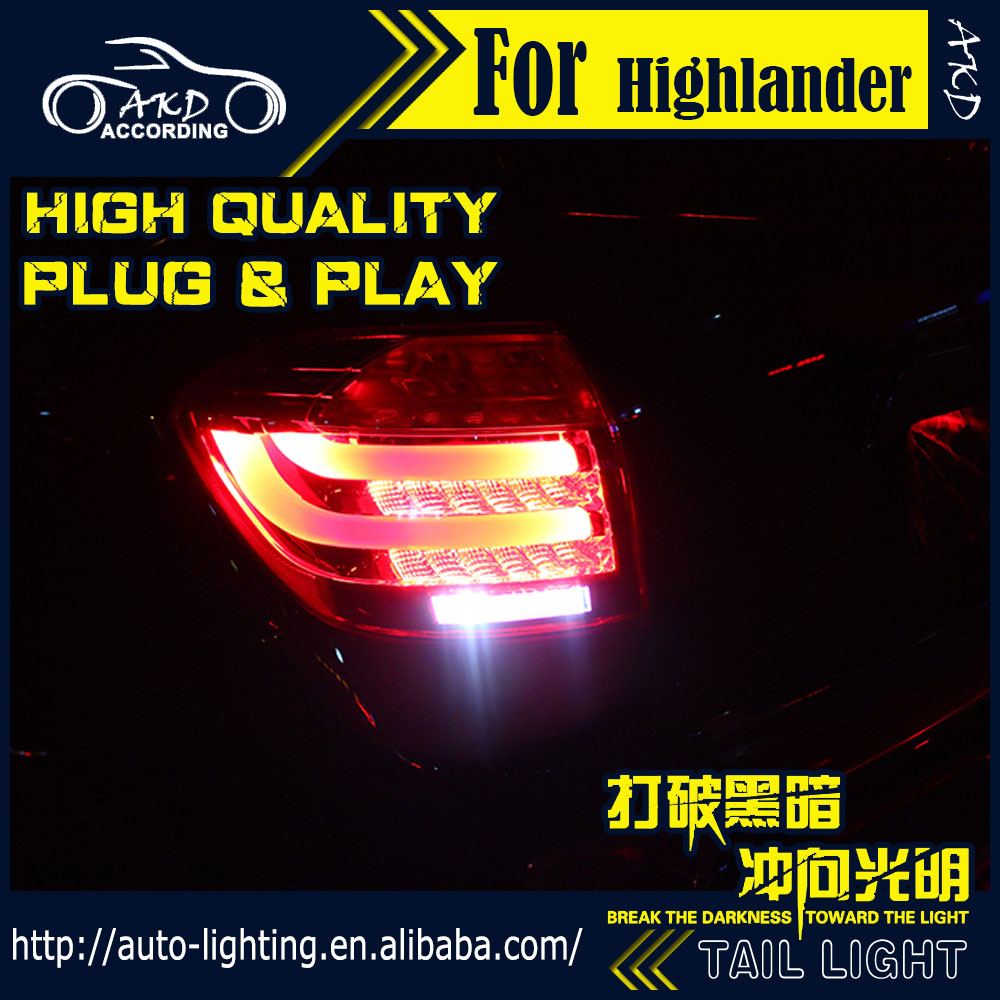 AKD Car Styling Tail Lamp for Toyota Highlander Tail Lights 2007-2011 LED Tail Light Signal LED DRL Stop Rear Lamp Accessories car styling taillight accessories for audi a7 tail lights 2011 2017 led tail light rear lamp moving turn signal light