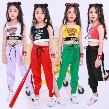 c7145082da45f Ropa de actuación de Hip Hop para niños ropa de baile de Jazz traje de niñas  Crop Tops pantalones de baile de salón ropa de escenario