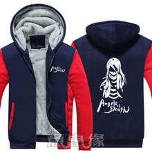 New Winter Jackets Coats Angels of Death hoodie Anime ray zack Hooded Thick Zipper Men Sweatshirts