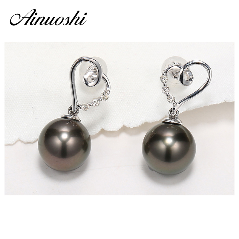 AINUOSHI Fashion 925 Sterling Silver Lovers Heart Shaped Earrings 9mm Natural South Sea Black Tahiti Round Pearl Drop Earrings ainuoshi 925 sterling silver leaves shaped pearl earrings 9 5 10mm natural tahitian black pearl round pearl lover stud earrings