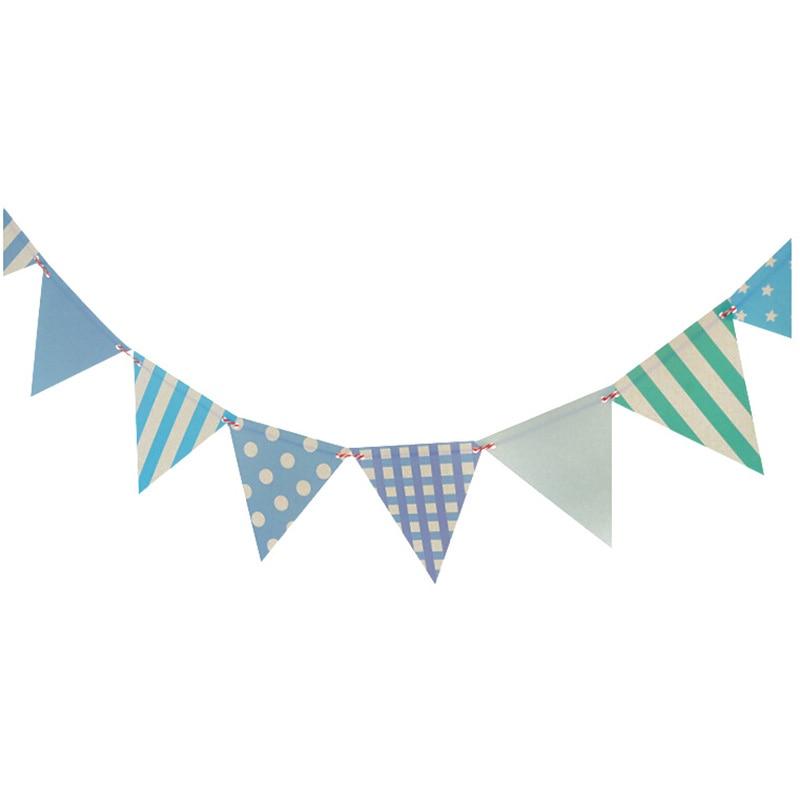 12 Teile/satz Blau Thema Papier Board Bunting Flags Banner Für Baby ...