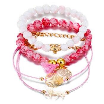 4 Pcs/set Pineapple, Unicorn, Turtle Charm Bracelets Set