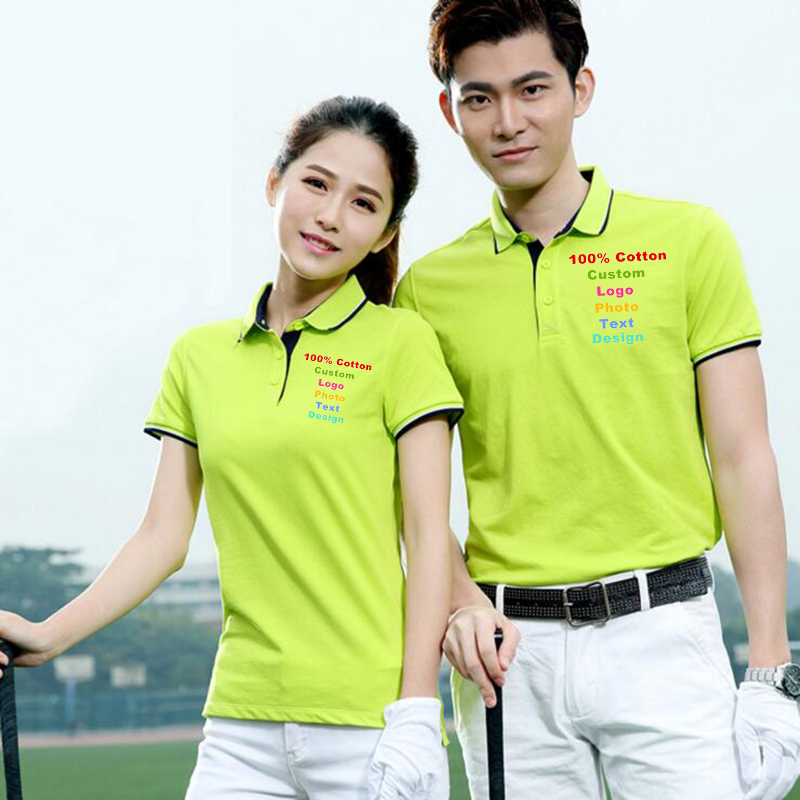 Polo Shirt Men Women Custom Logo Photo Text Company Team Uniform