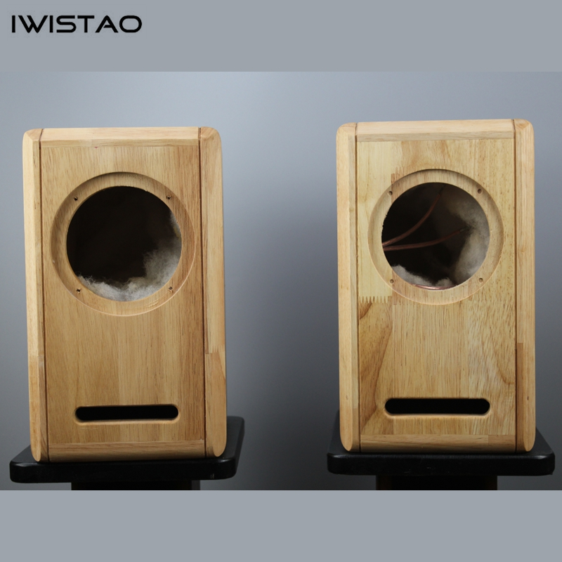 IWISTAO HIFI 6.5 Inches Full Range Speaker Empty Cabinet 1 Pair Finished Oak Wood Labyrinth Structure for Tube AmplifierBookshelf Speakers   -