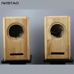 IWISTAO HIFI 6.5 Inches Full Range Speaker Empty Cabinet 1 Pair Finished Oak Wood Labyrinth Structure for Tube Amplifier