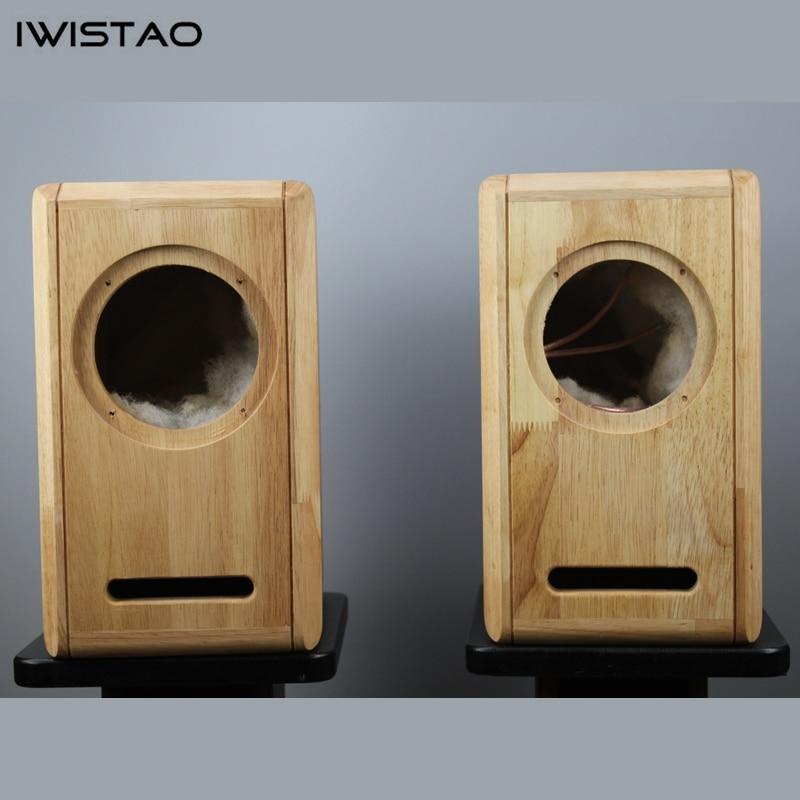 IWISTAO HIFI 6.5 pouces gamme complète haut-parleur vide armoire 1 paire fini chêne bois labyrinthe Structure pour amplificateur de Tube