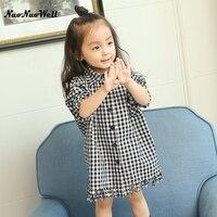 NNW Knee Length Shirt Kids Dress Baby Girl Red Plaid Long Sleeve Little Teenage Girls Dresses