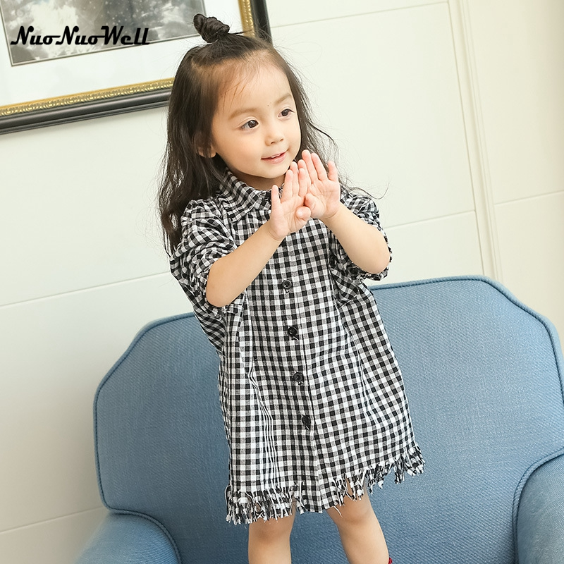 NNW Knee Length Shirt Kids Dress Baby Girl Red Plaid Long Sleeve Little Teenage Girls Dresses 2017 Spring Autumn Kids Clothing