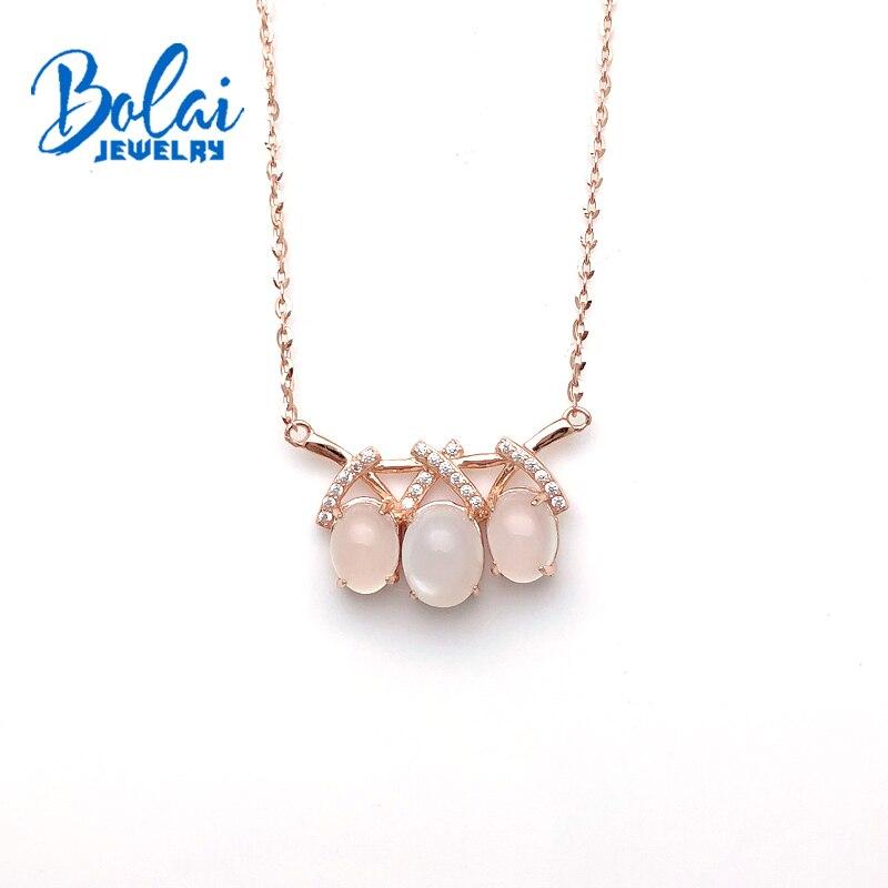 Bolaijewelry, naturel rose quartz ovale 7*9mm pierres précieuses pendentif 925 sterling argent bijoux fins pour la saint-valentin femmes meilleur cadeau