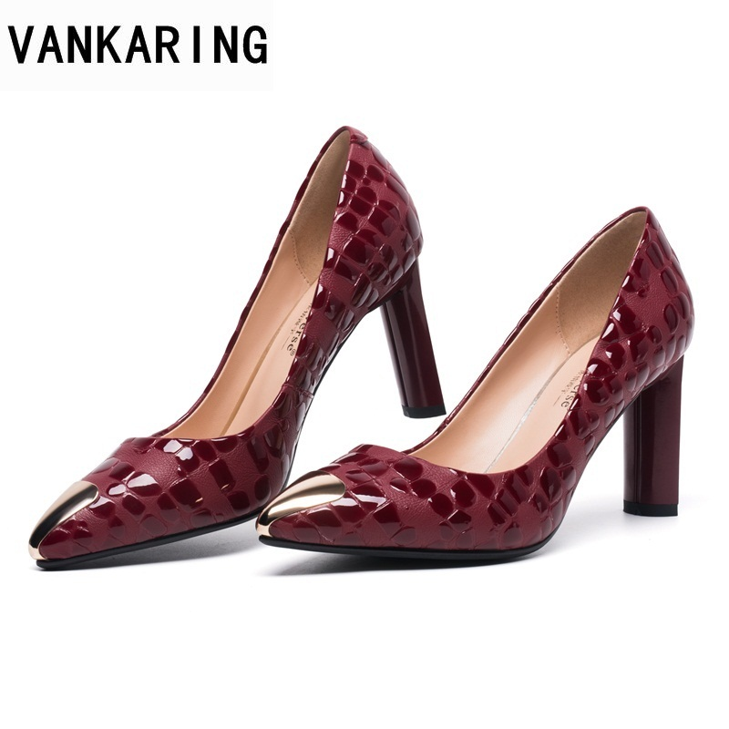 VANKARING shoes woman pumps genuine leather super high heels women pointed toe pumps shoes ladies spring slip-on office shoes