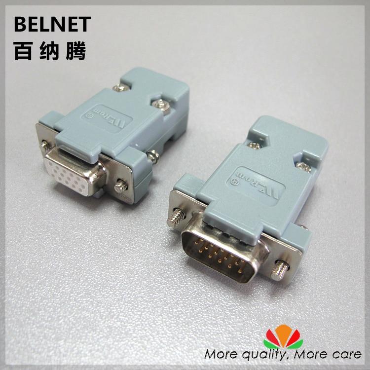 VGA plug 15-pin / hole Three rows DB15 female DB15 male welding head connector With plastic shell 2pcs/lot