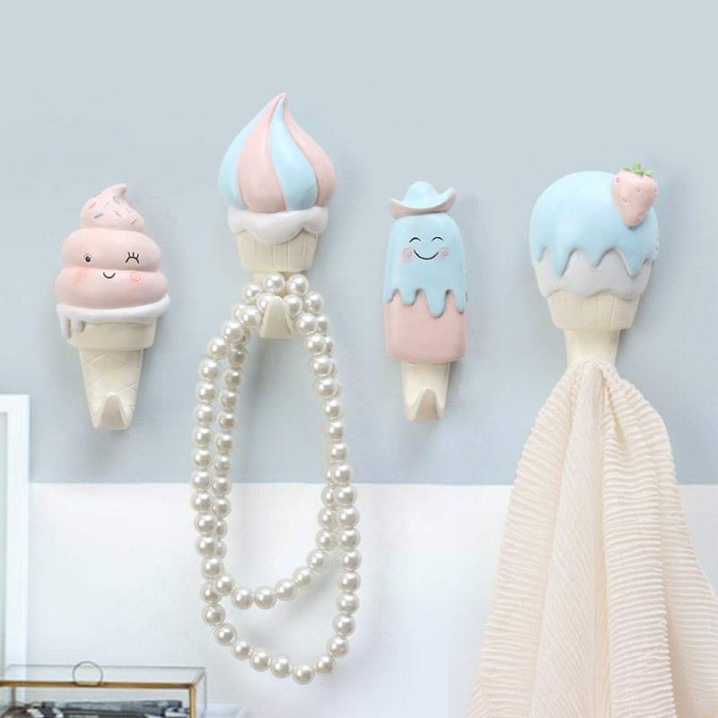 Roogo Hanger Key Holder Wall Indoor Room Decoration For kid Wall Hook Ice Cream Wall Coat Rack Resin Home Decoration Accessories in Hooks Rails from Home Garden