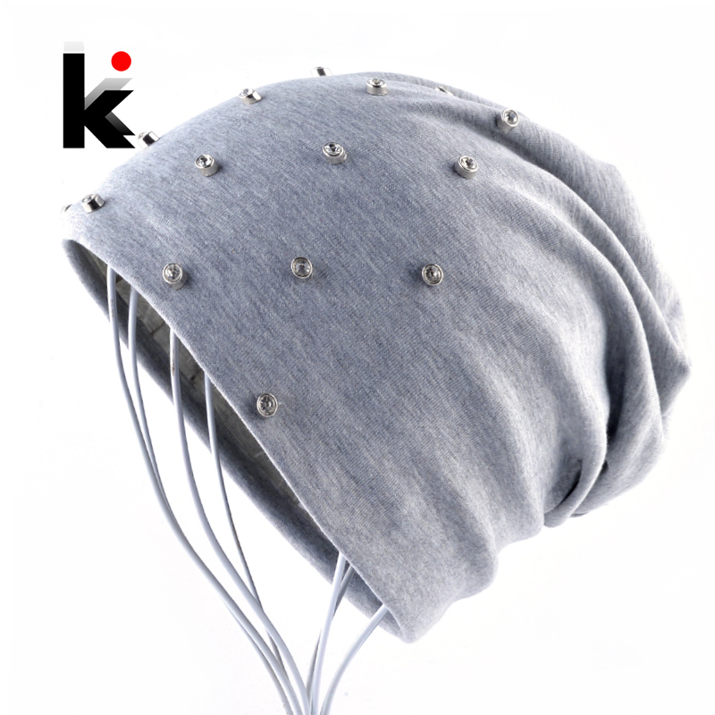 Autumn Women's Hat Solid Color Cotton   Beanie   Female Fashion Rhinestone Hip Hop   Skullies     Beanies   Women Spring Casual Bonnet Caps