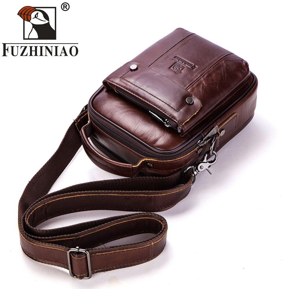 FUZHINIAO 100% Genuine Leather Messenger Bag Shoulder Men Male Crossbody Bag Tas Sling Tote Travel bag Cowhigh for Small Sling