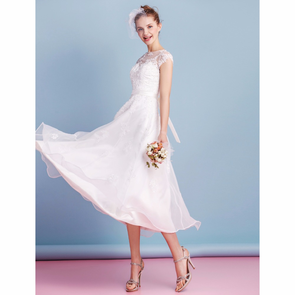 A Line Wedding Gown With Sleeves: LAN TING BRIDE Illusion A Line Wedding Dress Backless