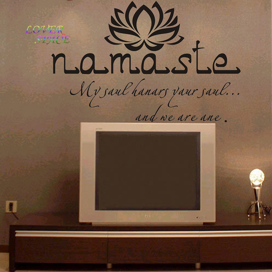 Wall Decals Quotes Vinyl Sticker Decal Buddha Quote Namaste Yoga Mandala Stickers For Living Rooms Diy Many Colors 56x90cm In From Home