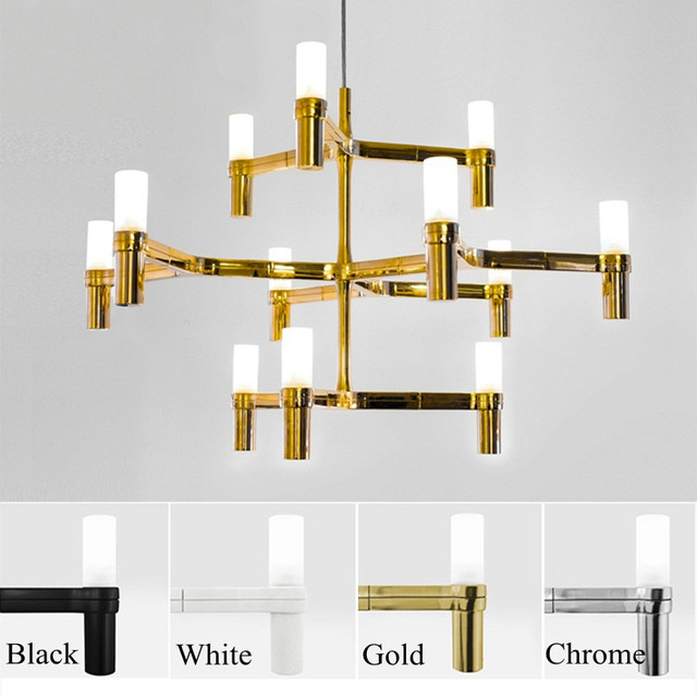 Post Modern Chandeliers Aluminum Crown MAJOR Design Duplex Villa Restaurant  Lighting Black/White/Chrome/Gold Branch Lamp Fashion
