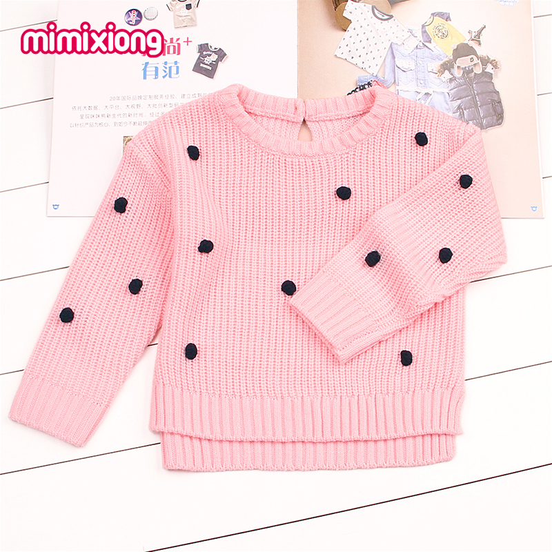 Dots Crochet Sweater For Girls Newborn Baby Boys Knit Pullovers Spring Outerwear Children Kids Knitwear Long Sleeve Jumper Pink