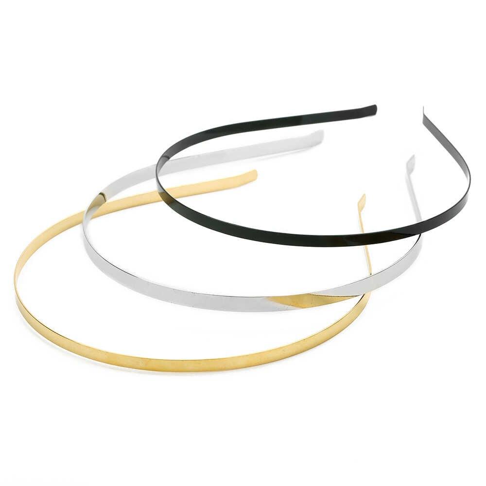 10 teile/los 3/5/6mm Edelstahl Dull Silber/Schwarz Klar Leere Flach Haar Band Stirnband DIY Haar Schmuck Zubehör Handwerk