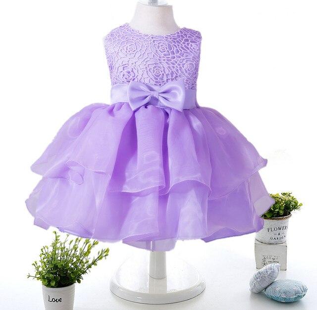 Elegante chica dress girls summer fashion solid partido grande del arco flores de tul vestidos de boda de la princesa baby girl dress, 0-2y