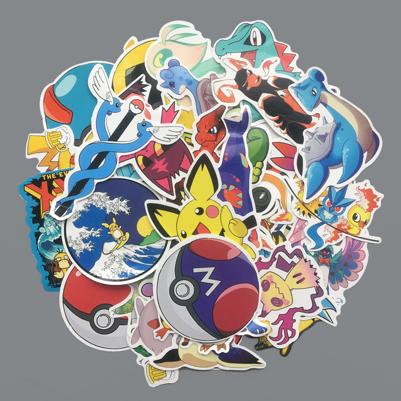 45 Pcs Cartoon Pikachu Stickers For Notebook PC Skateboard Bicycle Car Motorcycle DIY Waterproof Children Toy Sticker