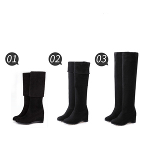 Image 3 - Black Elastic Flock Slim Fit Over The Knee Boots Women 2020 Autumn Winter Sexy ladies high heel wedges Long Thigh High botas