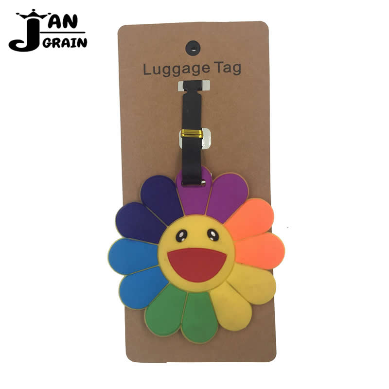 Plant Sunflower Luggage Tag Silica Gel Suitcase ID Address Holder Cute Baggage Boarding Tag Portable Label Travel Accessories