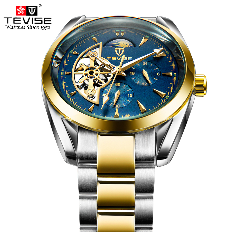 TEVISE Automatic Self-Wind Watches Tourbillon Chronograph Stainless Steel Silver Watch Men Mechanical Clock Male 795A with tool