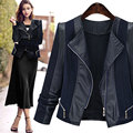 New Women Autumn Winter Casual Basic PU Leather Jacket Coat Patchwork Black Top Zipper Full Sleeve Plus Size