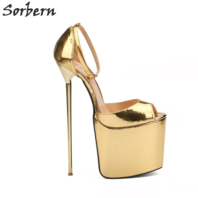 Sorbern Unisex Sandals Size 40-50 Platforms Women Shoes Ankle Straps Gold Metal High Heels 22cm Fashion Party Dance High Heels